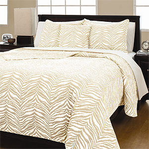 Zebra Tan 100% Cotton Quilt Set